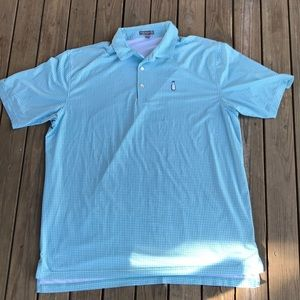 Peter Millar summer comfort polo gingham xl green